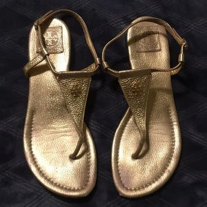 Tory Burch Gold Leather Britton Sandal (Size 10)
